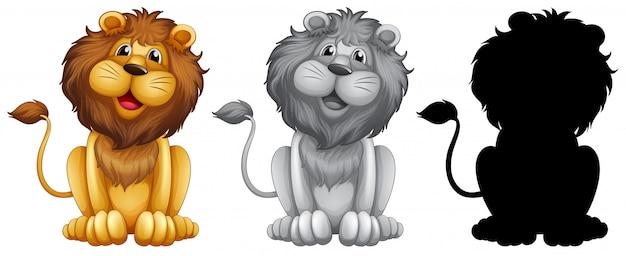 ライオンキャラクターのセット 無料ベクター