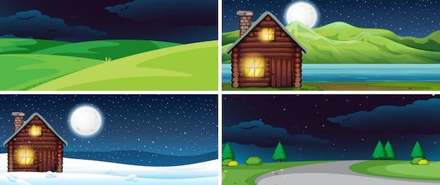 夜の自然風景のセット Premiumベクター