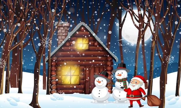 冬の木の小屋 Premiumベクター