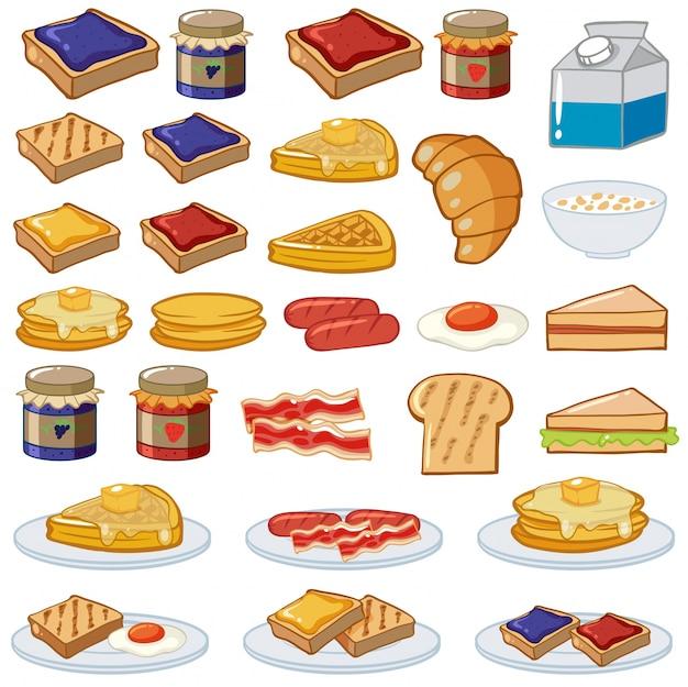 異なる種類の料理イラストを使った朝食セット ベクター画像 プレミアム