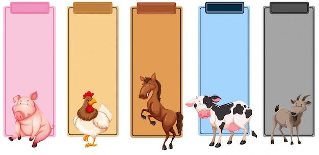 農場の動物の国境のセット Premiumベクター