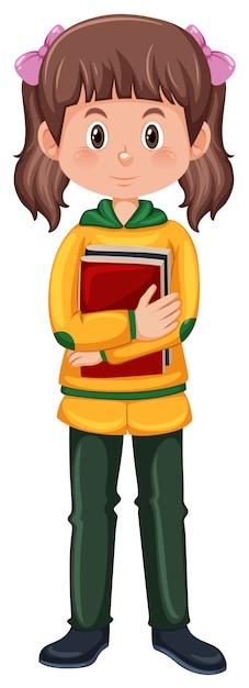 Брюнетка студенческого персонажа Бесплатные векторы