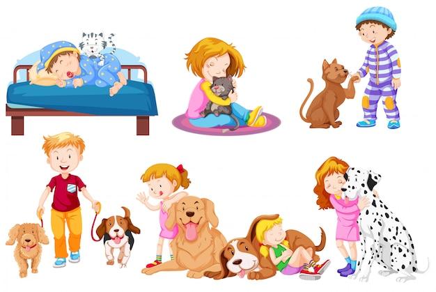 Группа любителей домашних животных Premium векторы