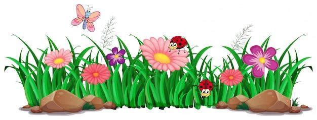 花と草の装飾 無料ベクター
