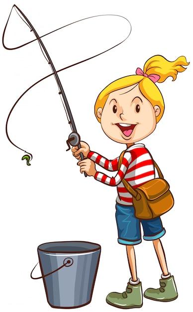 Девушка, рыбалка на белом фоне Бесплатные векторы