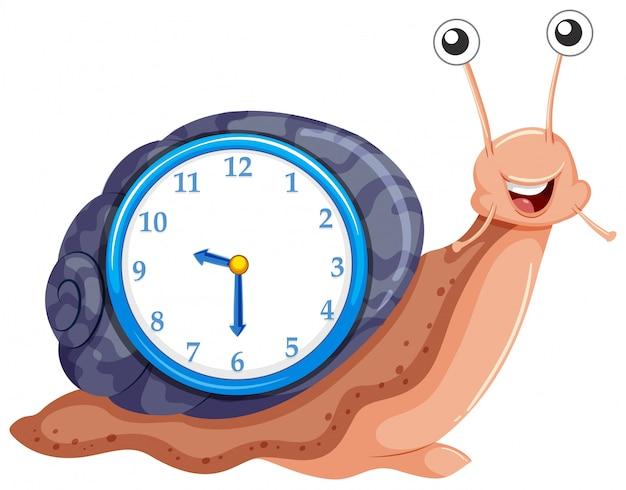 カタツムリのテンプレートと時計します。 無料ベクター