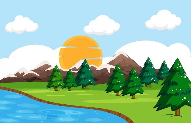 単純な自然の風景 無料ベクター