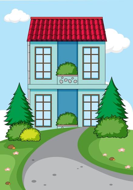 Простой дом на фоне природы Бесплатные векторы