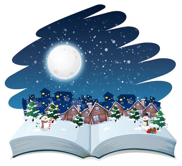 オープンブックの冬の屋外テーマ Premiumベクター