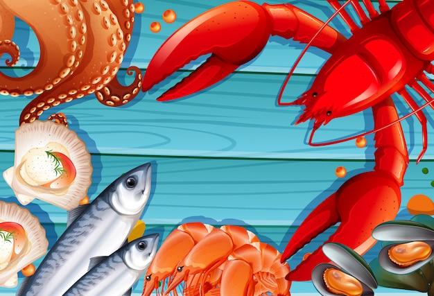 Набор морепродуктов на деревянном фоне Бесплатные векторы