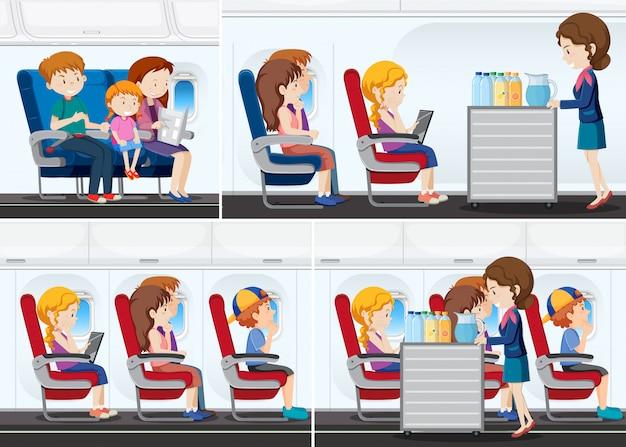 飛行機の中で乗客 Premiumベクター