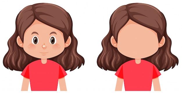 Брюнетка волосы женский персонаж Бесплатные векторы