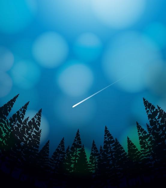 Метеоритный дождь на небе Бесплатные векторы