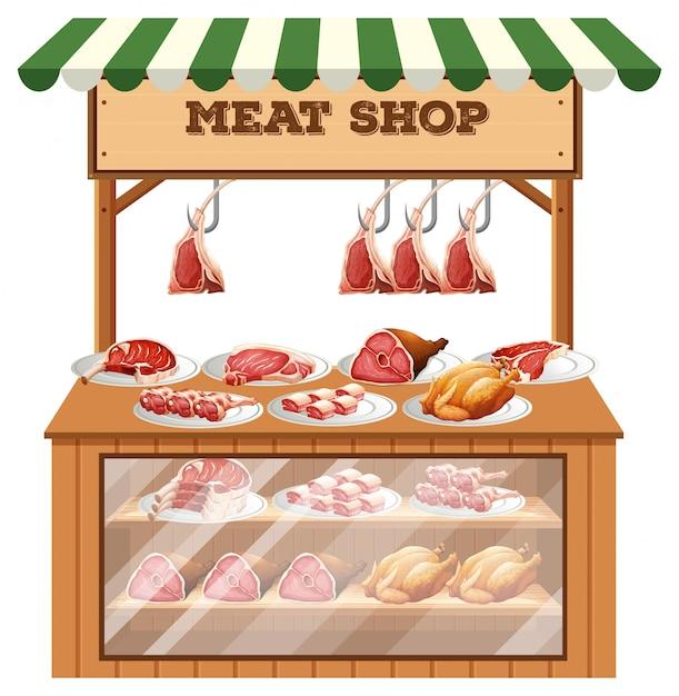 白い背景の上の肉屋の屋台 Premiumベクター