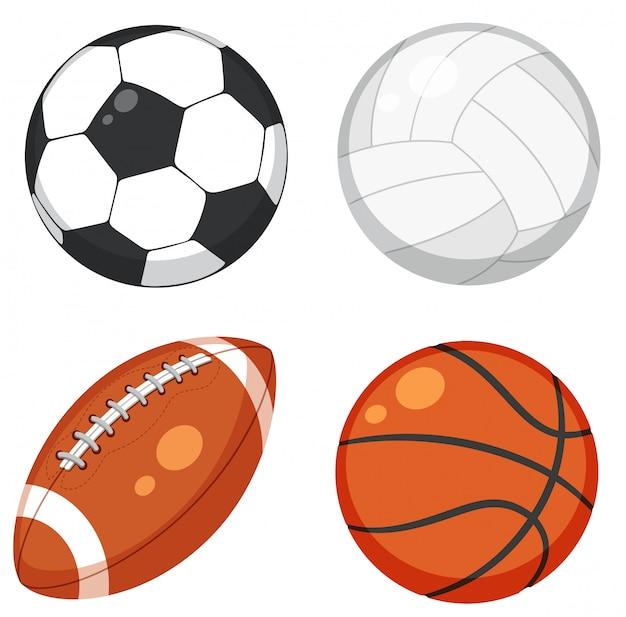 Набор мяч на белом фоне Бесплатные векторы
