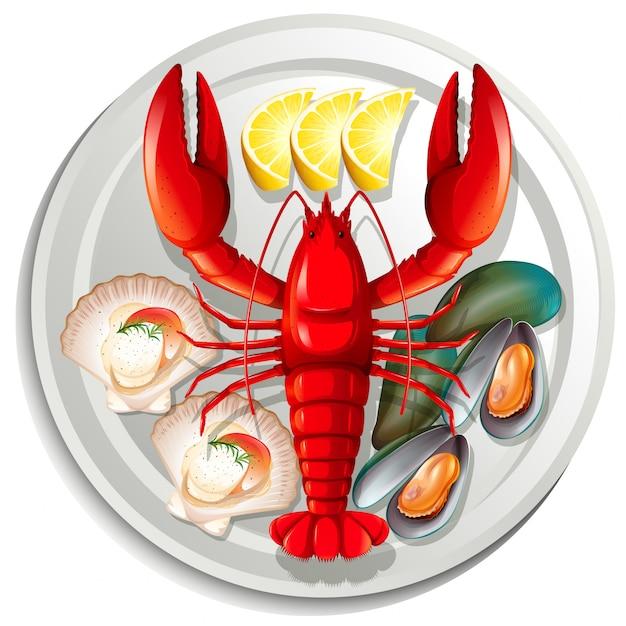 Морепродукты на тарелке Premium векторы