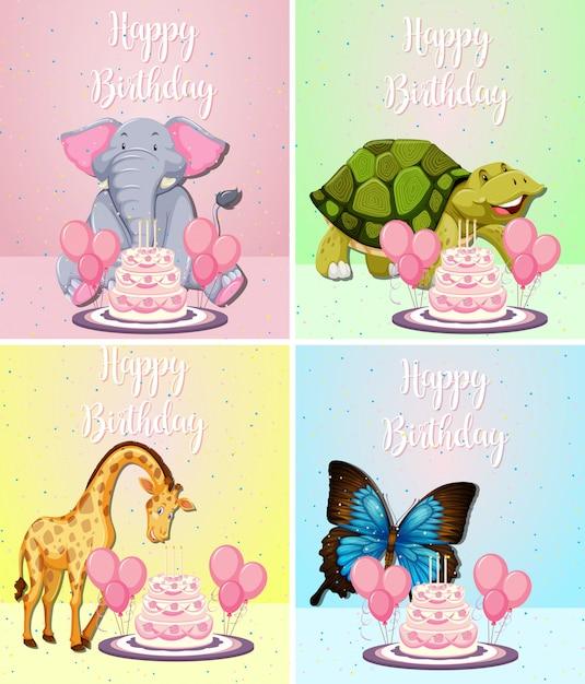 誕生日カードにかわいい動物 無料ベクター