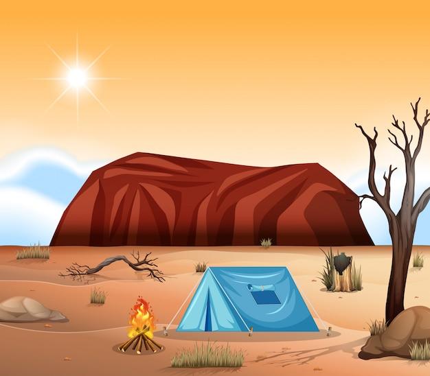 ウルル奥地のキャンプ場 Premiumベクター
