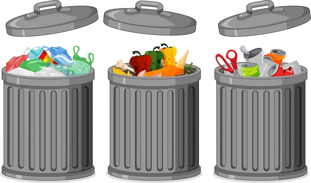 Набор мусорного ведра Бесплатные векторы