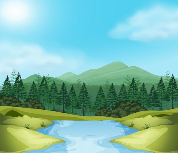 美しい屋外の木のシーン 無料ベクター