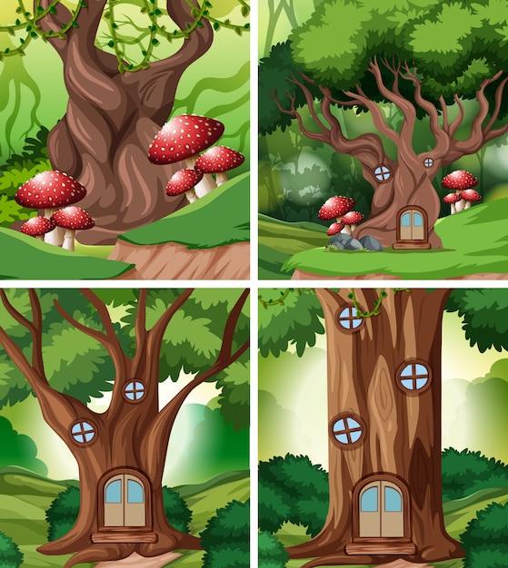 Набор сказочного дома в лесу Бесплатные векторы