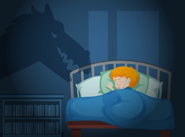 悪夢を見ている少年 Premiumベクター