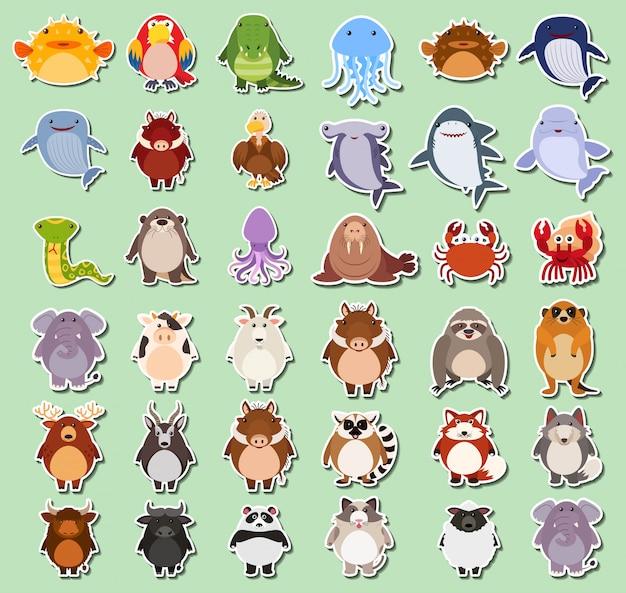 Набор наклеек с животными Бесплатные векторы