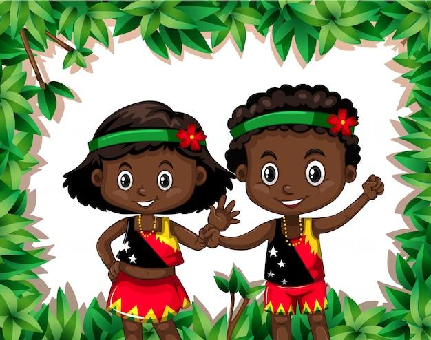 パプアニューギニアの子供たち、自然のテンプレート 無料ベクター