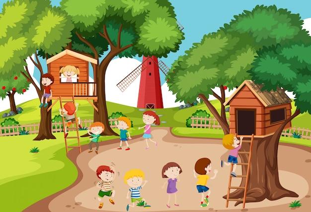 Дети играют в домике на дереве Premium векторы