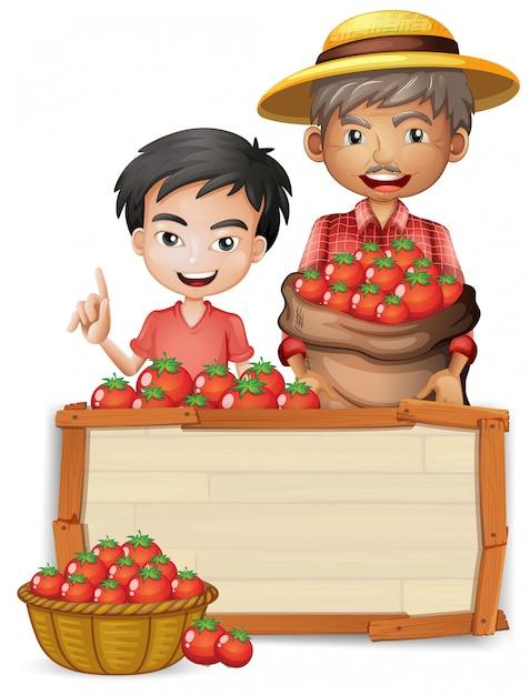 トマトの木製バナーを持つ農家 Premiumベクター