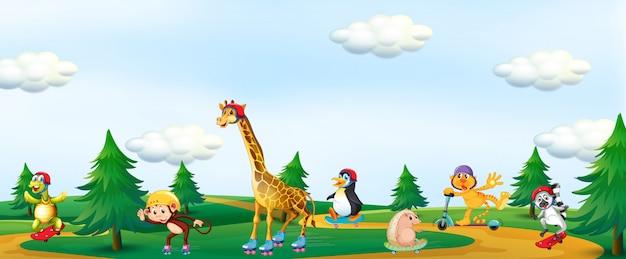 Группа животных, играющих в парке Бесплатные векторы
