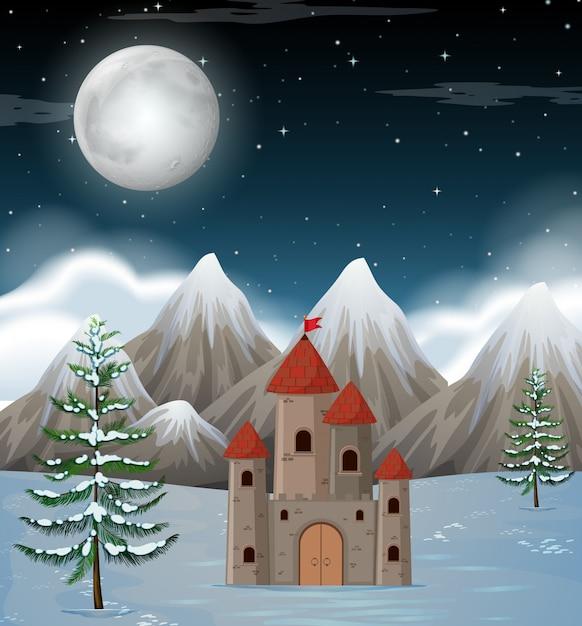 Лунная ночь зимняя сцена Бесплатные векторы