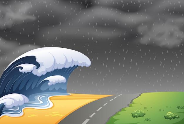 大津波の風景 無料ベクター