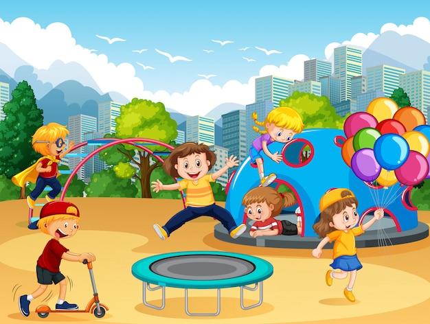 Дети на детской площадке Premium векторы