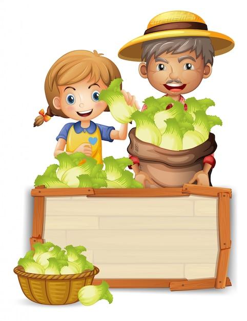 木の板にレタスと農家 Premiumベクター