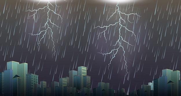 雷雨の嵐の都会の風景 Premiumベクター