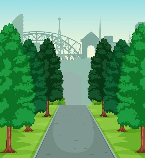 自然の道の風景 無料ベクター