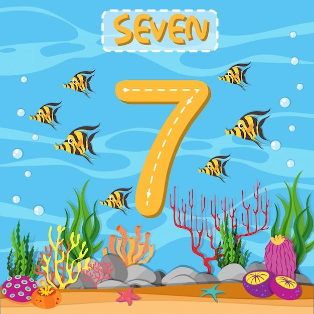 Как написать номер семь Бесплатные векторы