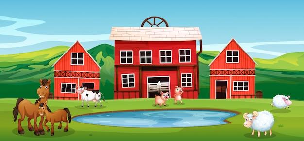 農地の農場の動物 Premiumベクター