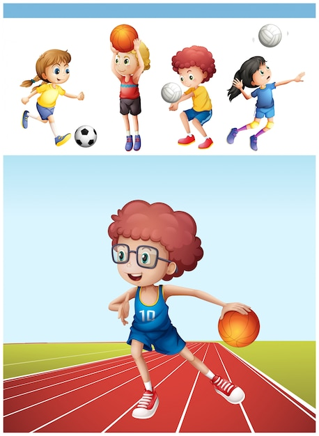 Мальчик играет в баскетбол и другие спортивные иллюстрации Бесплатные векторы