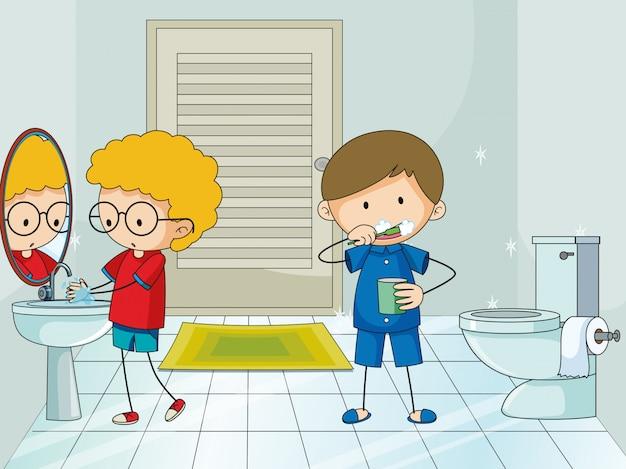 浴室の少年 無料ベクター