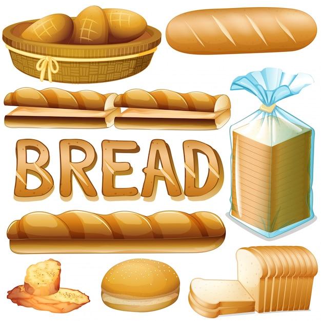Хлеб разных видов Бесплатные векторы