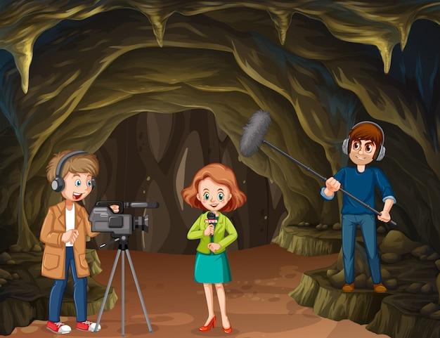洞窟からのジャーナリストレポート Premiumベクター
