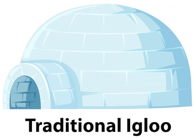 白い背景の上の伝統的なイグルー Premiumベクター