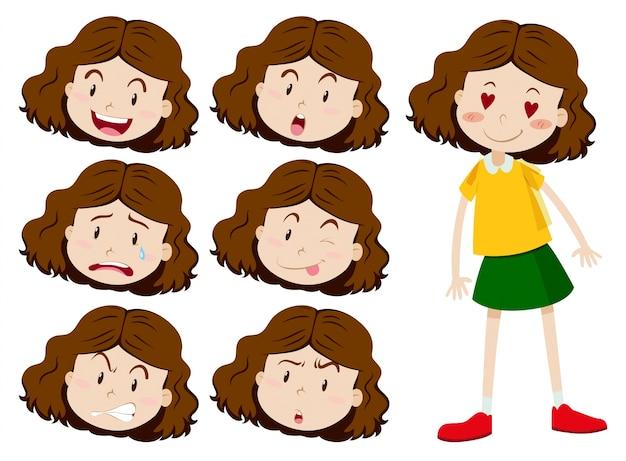 多くの表情イラストを持つ少女 ベクター画像 無料ダウンロード
