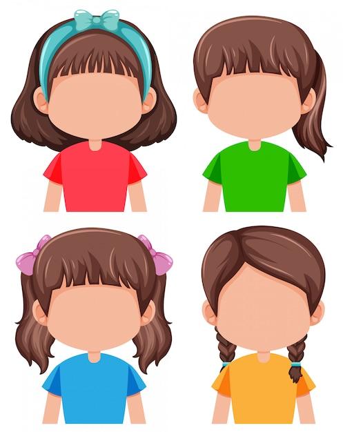 顔のない女の子のグループ Premiumベクター