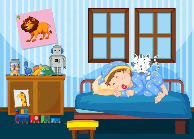 Мальчик спит в спальне Бесплатные векторы