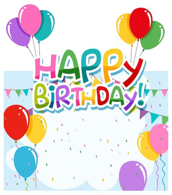 お誕生日おめでとうカードのコンセプト 無料ベクター
