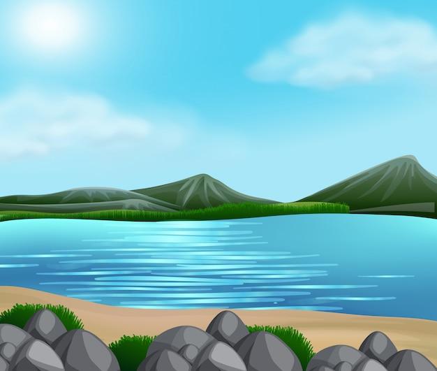 美しい自然の風景 無料ベクター