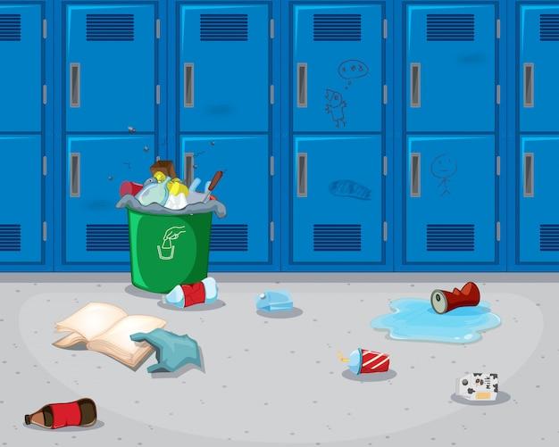汚れた学校の廊下の背景 無料ベクター